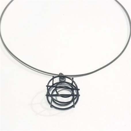 Powder Coated Necklace: Mini Round Structure Pendant in Black