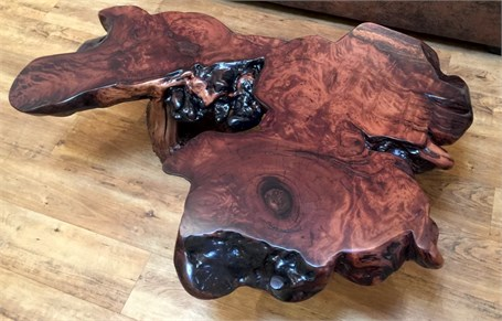 Redwood Coffee Table - Inlayed Copper with Manzanita Root Burl