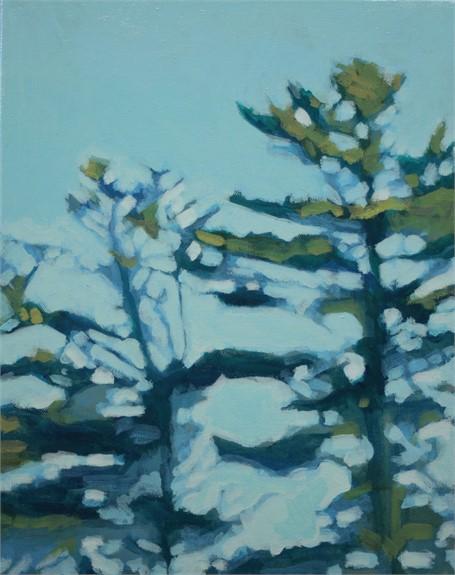 "Liz Hoag | Treeline V | acrylic | 14"" X 11"" | Sold"