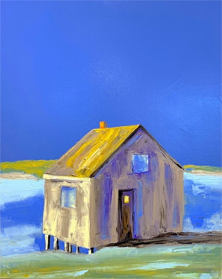 "Janis H. Sanders | Seaside Fish Shack | Oi on Canvas | 20"" X 16"" 