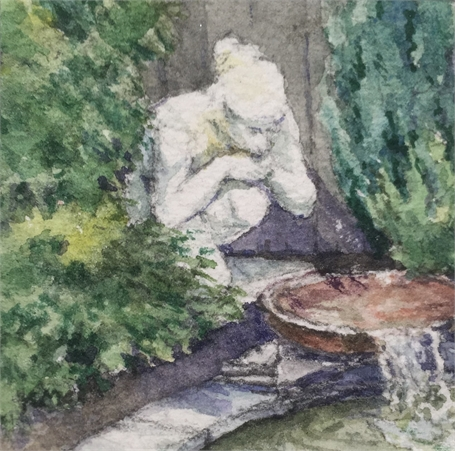 "Karen McManus | Garden Statue | Watercolor on Canvas | 2"" X 2"" 