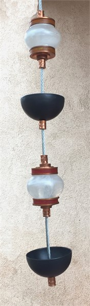 Hanging Rain Chain - Frost & Copper Cast Glass