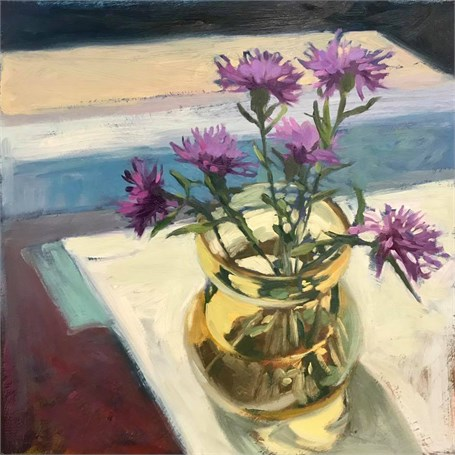 "Margaret Gerding | Day 2 (Thistle) | Oil on Panel | 14"" X 14"" 