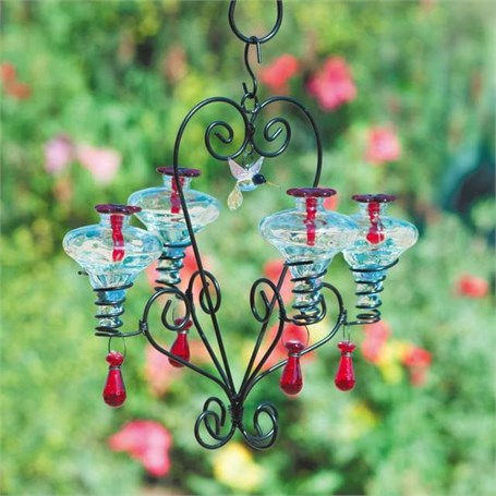 Hummingbird Feeder - Victoria 4 - 8oz Hummingbird Feeder ( 1 with Clear & 1 with Aqua Glasse) with Dangles