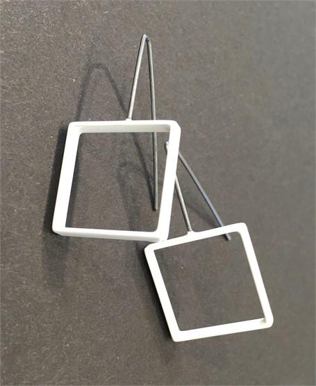 Earrings: Sterling Silver Medium Square in White