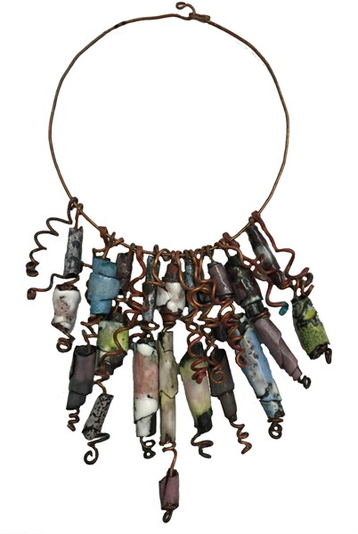 Necklace - Hand Crafted Neck Ring With Handmade Copper Beads & Individually Enameled With Tendrils D 170