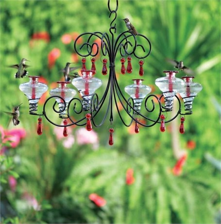 Hummingbird Feeder - 24oz Grand Chandelier in (1 with Aqua or 1 with blue or 1 with Clear Glass)