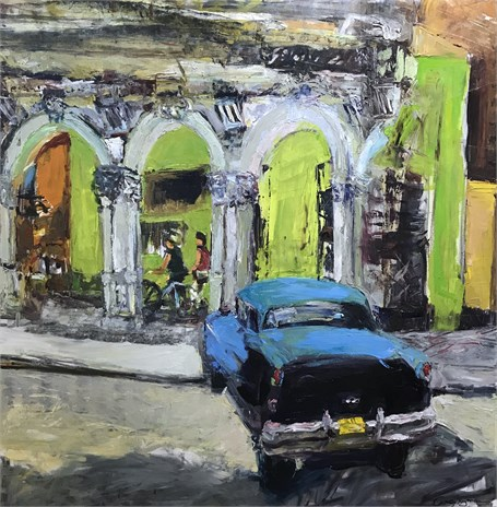 La Vida Cuba: Street Corner With Green Corner and Blue Car