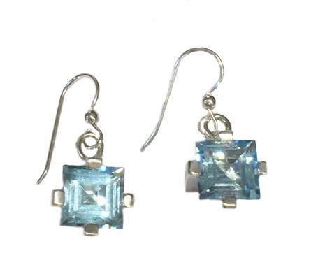 Earrings - Sterling Silver Square Dangles Blue Topaz  E-916