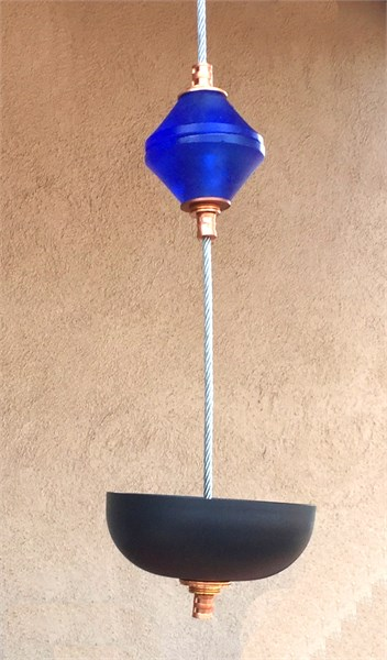 Hanging Bird Feeder/Planter - Sapphire Blue Cast Glass