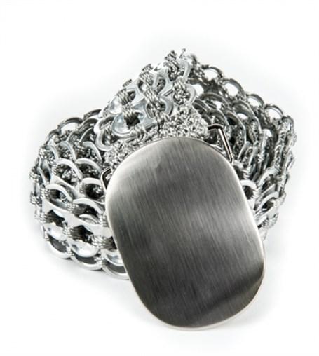 Belt - Silver Oval Buckle Crocheted Pull Tab