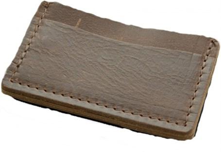 Leather & Wool Single Track Wallet - Dark Brown & Charcoal  RU25