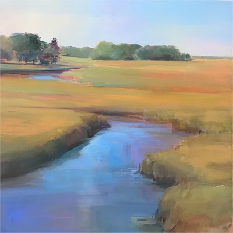 "Holly Ready | Marsh, Winding Way | Oil on Canvas | 18"" X 18"" 