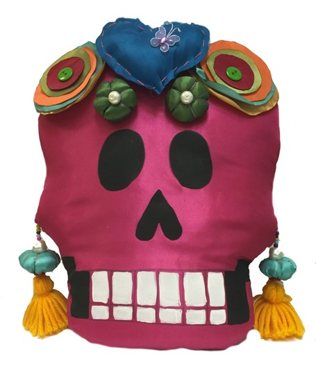 Pillow - Calavera Medio - Hand-painted fabric and sewn - Pink with Blue Heart