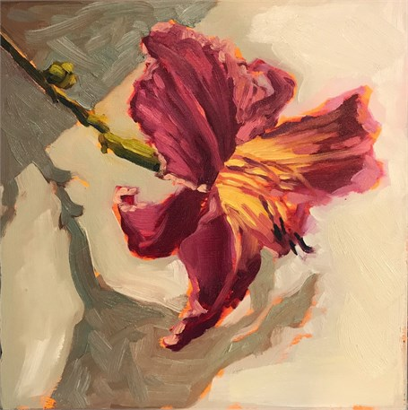 "Margaret Gerding | Day 14 (Lily) | Oil on Panel | 8"" X 8"" 