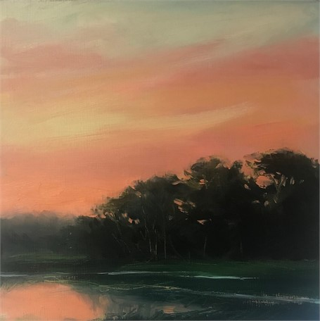"Margaret Gerding | Morning Light-Day 26 | Oil on Panel | 8"" X 8"" 