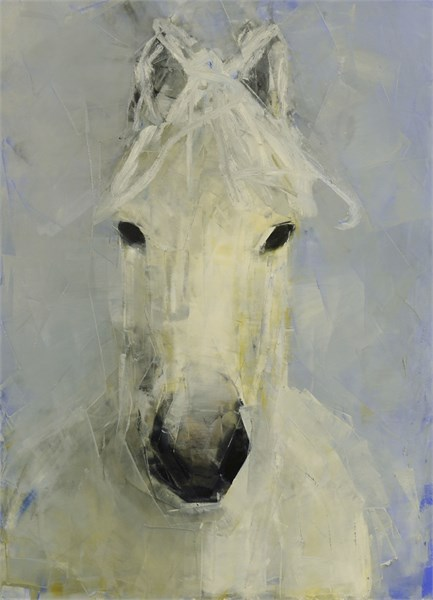 "Rebecca Kinkead | White Horse (Pale Blue Yonder) | Oil on Paper Mounted on Panel | 30"" X 22"" 