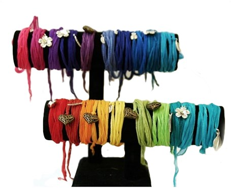 Bracelet - Silk Wrap Multi Color & Assorted Charms