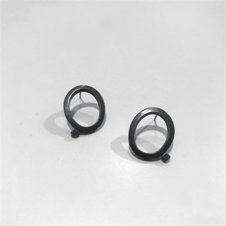 Oxidized Sterling Silver Earring: Small Square Stock on Post