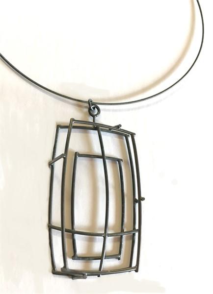 Necklace: Large Rectangular Structure Pendant