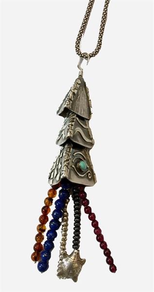 Pendant - Blended Cultures Tassel - Turquoise Cabochon, Amber, Lapis, Garnet, Hematite with Fine & Sterling Silver #2538