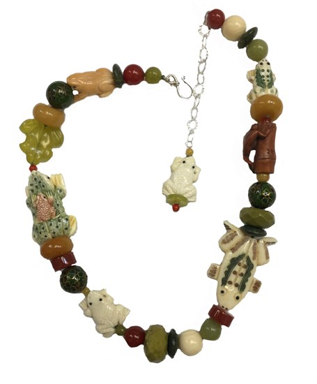 KY 1244 Single strand necklace with carnelian, yellow jade & etched bone