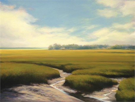 "Margaret Gerding | Spurwink Marsh | Oil on Panel | 36"" X 48"" 