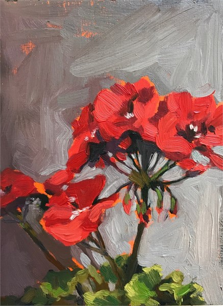 "Margaret Gerding | Day 12 (Geranium) | Oil on Panel | 8"" X 6"" 