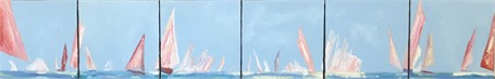 "Janis H. Sanders | Pink Sails | Oil on Canvas | 12"" X 72"" 