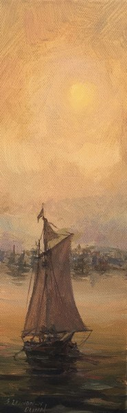 "Sandra L. Dunn | Misty Harbor | Oil on Canvas | 12"" X 4"" 