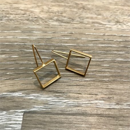 Gold Plated Earrings: Medium Square