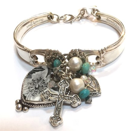 Bracelet - Vintage Silver Spoon with Heart & Cross Theme