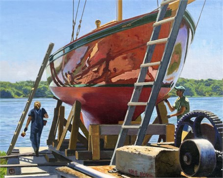 "William B. Hoyt | Launch Preparations | Oil on Panel | 8"" X 10"" 