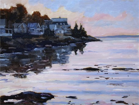 "Brad Betts | April Sunrise on Ocean Point | Oil on Linen | 12"" X 16"" 
