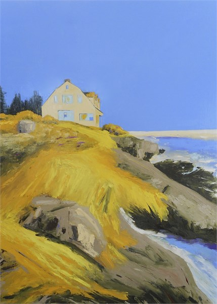 "Janis H. Sanders | Cliff House & Roses | Oil on Panel | 48"" X 36"" 