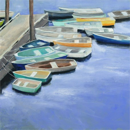 "Ellen Welch Granter | Docked | Oil on Panel | 20"" X 20"" 