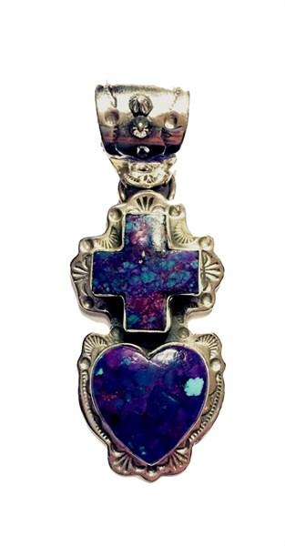 Pendant - Mohave Turquoise Heart &Cross