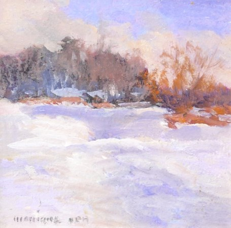 "Monique Sakellarios | Winter in Maine | Oil | 5"" X 5"" 