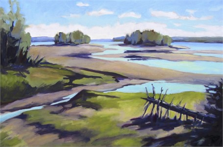 "Judith Schuppien | Harpswell Sound, Low Tide | Oil | 24"" X 36"" 