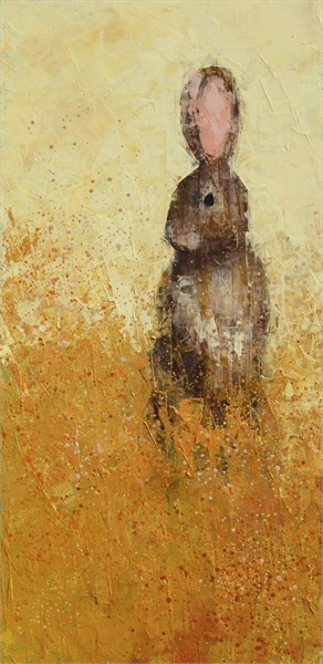 "Rebecca Kinkead | Cottontail (Golden Field) | Oil and Wax on Linen | 30"" X 15"" 