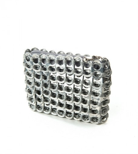 Credit Card Case Silver - Crocheted Pull Tab
