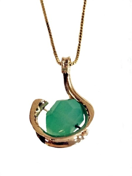 Pendant - Chrysoprase Bead with 14kt Gold Anticlastic Design 3446