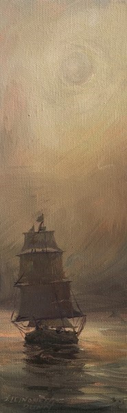 "Sandra L. Dunn | Out of the Fog | Oil on Canvas | 12"" X 4"" 