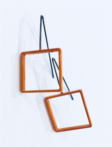 Earrings: Medium Orange Square