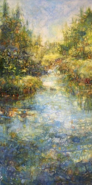 "Susan Wahlrab | Tranquil | Varnished Watercolor on Archival Claybord | 16"" X 8"" 