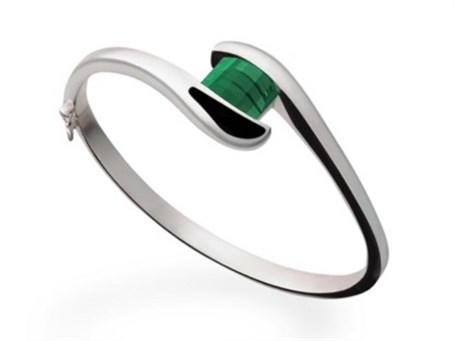 Bracelet - Barrel cut Green Quartz & Sterling Silver