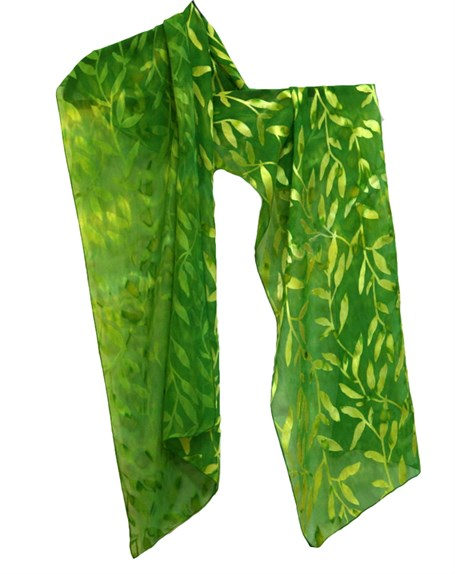 Scarf - Devore Satin Leaves 44