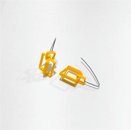 Powder Coated Earrings: 3 Medium Mustard Squares