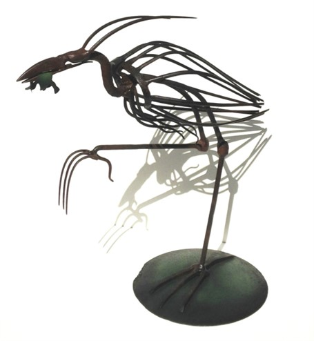"Patrick Plourde | Blue Heron | Steel and Found Parts | 31"" X 28"" 