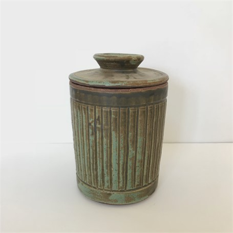 "Richard Winslow | Cylinder Pot With Lid | Ceramic | 7.5"" X 5.5"" 